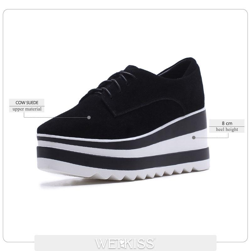 Plate 2019 noir forme Carré Sneaker Dames Vache Chaussures Lacets Femmes Nouveau Suede Bout Brown Casual Appartements Mode Wetkiss Printemps 0O6UZqwvq