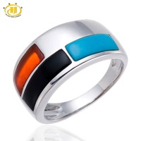 Hutang Gemstone Onyx Turquoise Agate Wedding Ring Solid 925 Sterling Silver Men Women Fine Stone Jewelry Free Shipping New