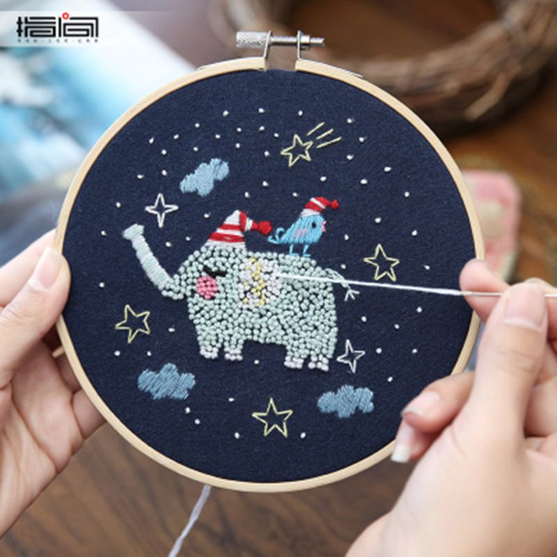 Starry Sky DIY Cross Stitch Material Package Embroidery Cute Cartoon Animal DIY Embroidered Accessories Kit Craft With Frame 10