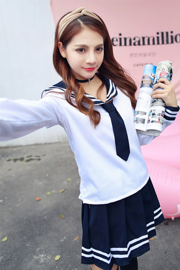 Japan School Uniform  Anime Maid Skirt Sailor Uniform Lolita Dress Japan Girl British Navy Style School   Costume