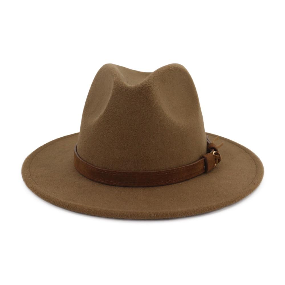 women men wool wide brim fedora hat