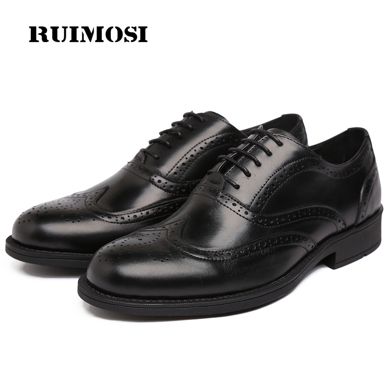 RUIMOSI New Platform Man Dress Shoes British Designer Genuine Leather Oxfords Round Toe Formal Luxury Brand Men's Flats RF83
