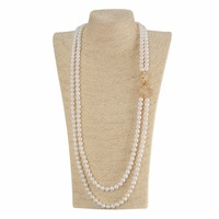 White Double Pearl Strand Necklace For Women Luxury Pearl Necklace Shell Jewelry Long Beaded Chain Necklaces