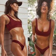COSPOT, Одноцветный спортивный бикини,, женский купальник, бразильские наборы Бикини Лето, купальный костюм, купальник для женщин, Maillot De Bain