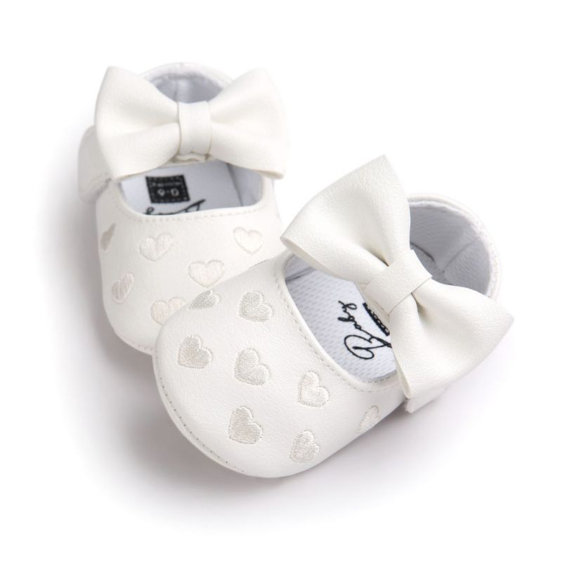 Big Bow Embroidery Love Soft Bottom Kids Shoes Non-slip Baby Shoes Prewalkers Boots Newborn Babies Soft Bottom PU Leather Shoes