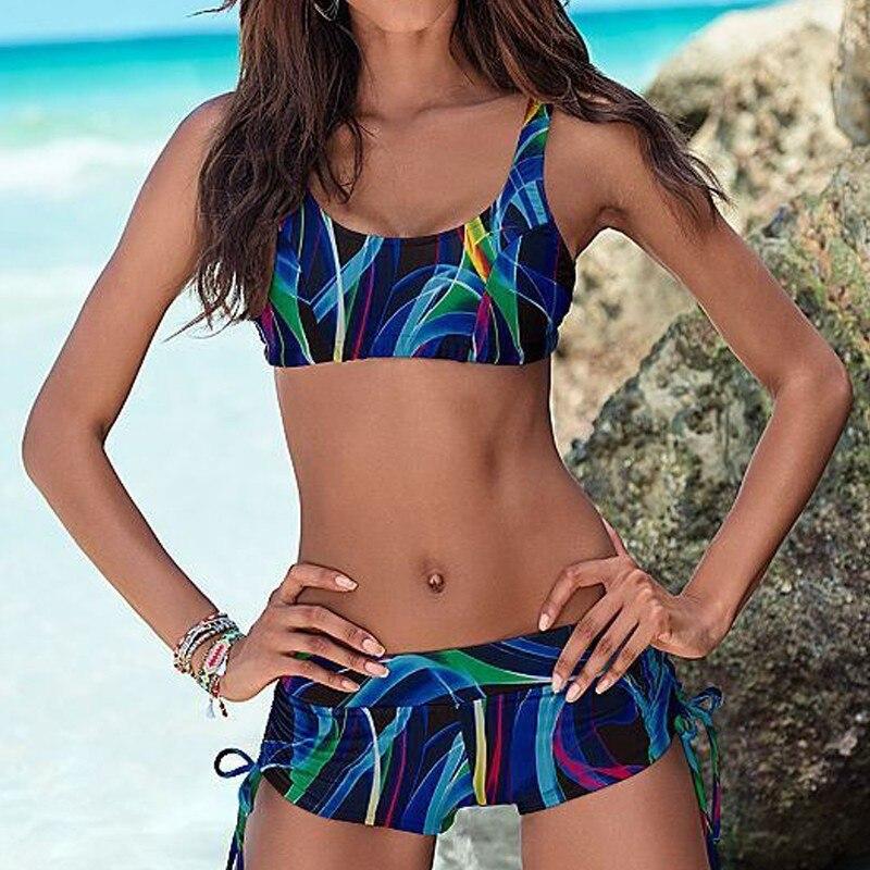 Blue Bandage Sexy Bikini Women Sports Swimsuit Push Up Bikinis Set Female Bathing Suits Biquini Crop Tank Top Swimwear Monokini
