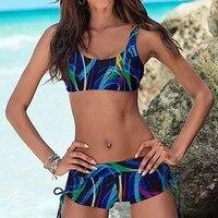 Niebieski bandaż sexy bikini kobiety sportowy strój kąpielowy push up biquini bikinis zestaw kobiece stroje kąpielowe crop tank top stroje kąpielowe monokini