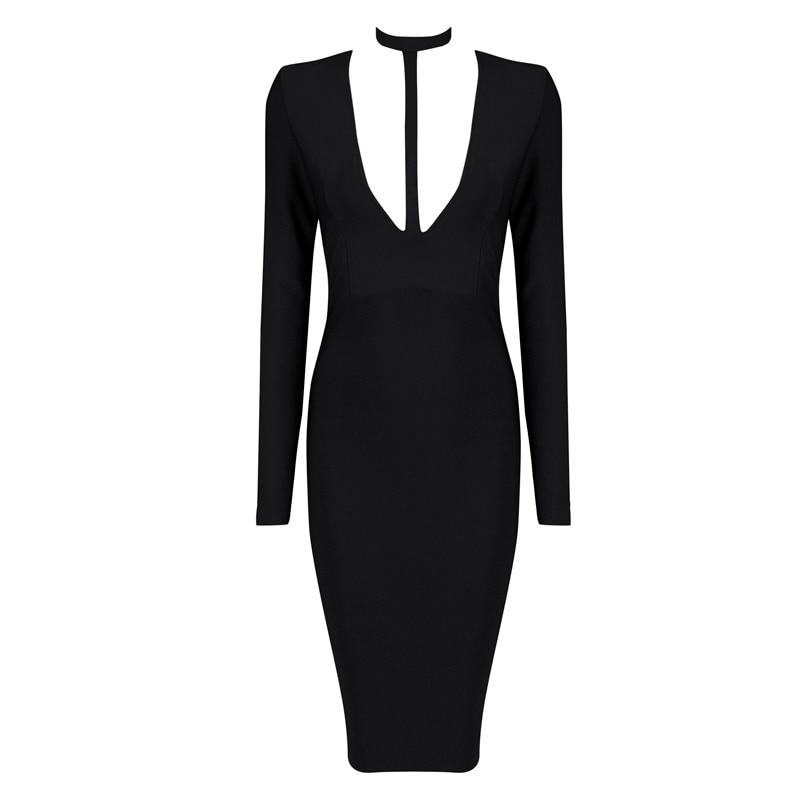 WunderschöNen 2015 Neue Mode Elegante Und Sexy Frauen Rot Weiß Schwarz Tiefem V-ausschnitt Langarm Abend Party Verband Kleid Kleid + Anzug