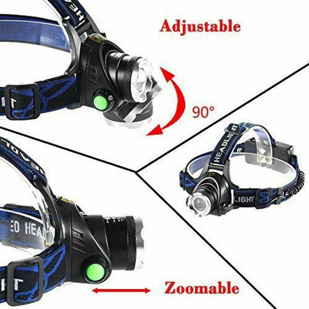 Cabeça da lâmpada recarregável cabeça luz t6 led tático farol zoomable + carregador 18650 farol lanterna faróis lampe frontale