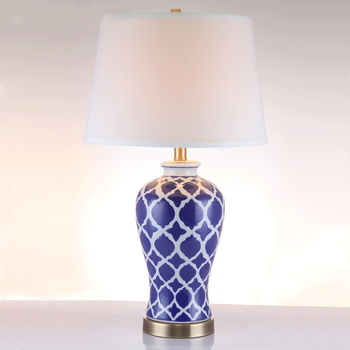 Chino hecho a mano de cerámica azul mesa de luces de tela de moda de noche boda decoración de escritorio de la tabla de luces A112