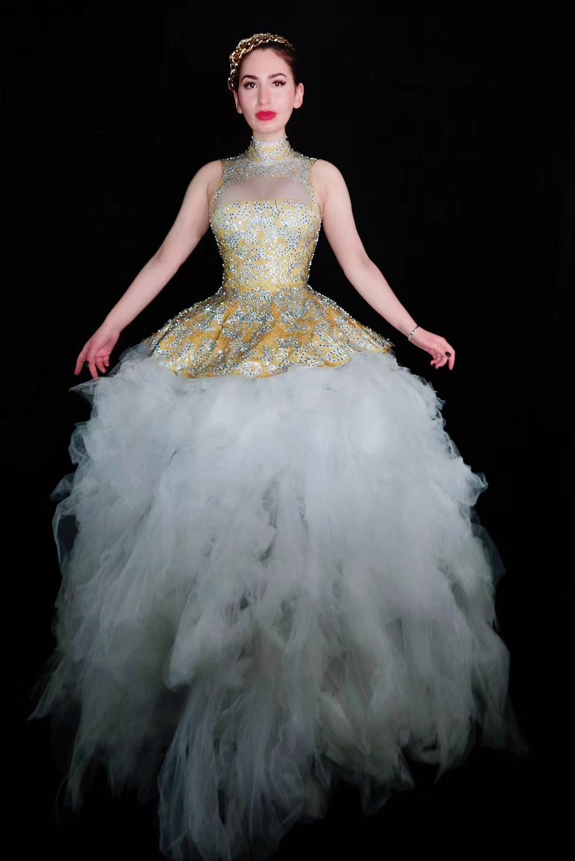 Frauen Großen Zug Geburtstag Kleid Feiern Nude Weiß Mesh Schwanz Kleider  Abend Outfit Sparkly Gelb Strass Prom Kleid