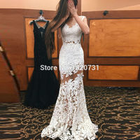 White Lace Mermaid Evening Dresses Sheer Elegant 2019 Long Formal Party Dress Trumpet Long Gowns Vestido De Festa Longo