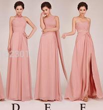 In Stock A-line Sweetheart Sleeveless Floor Length Chiffon Pink Elegant Long Bridesmaid Dresses 2017