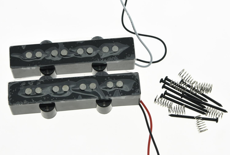 KAISH 4 String Jazz Bass Alnico 5 Pickups 60's Vintage Sound J Bass Pickup Set Black