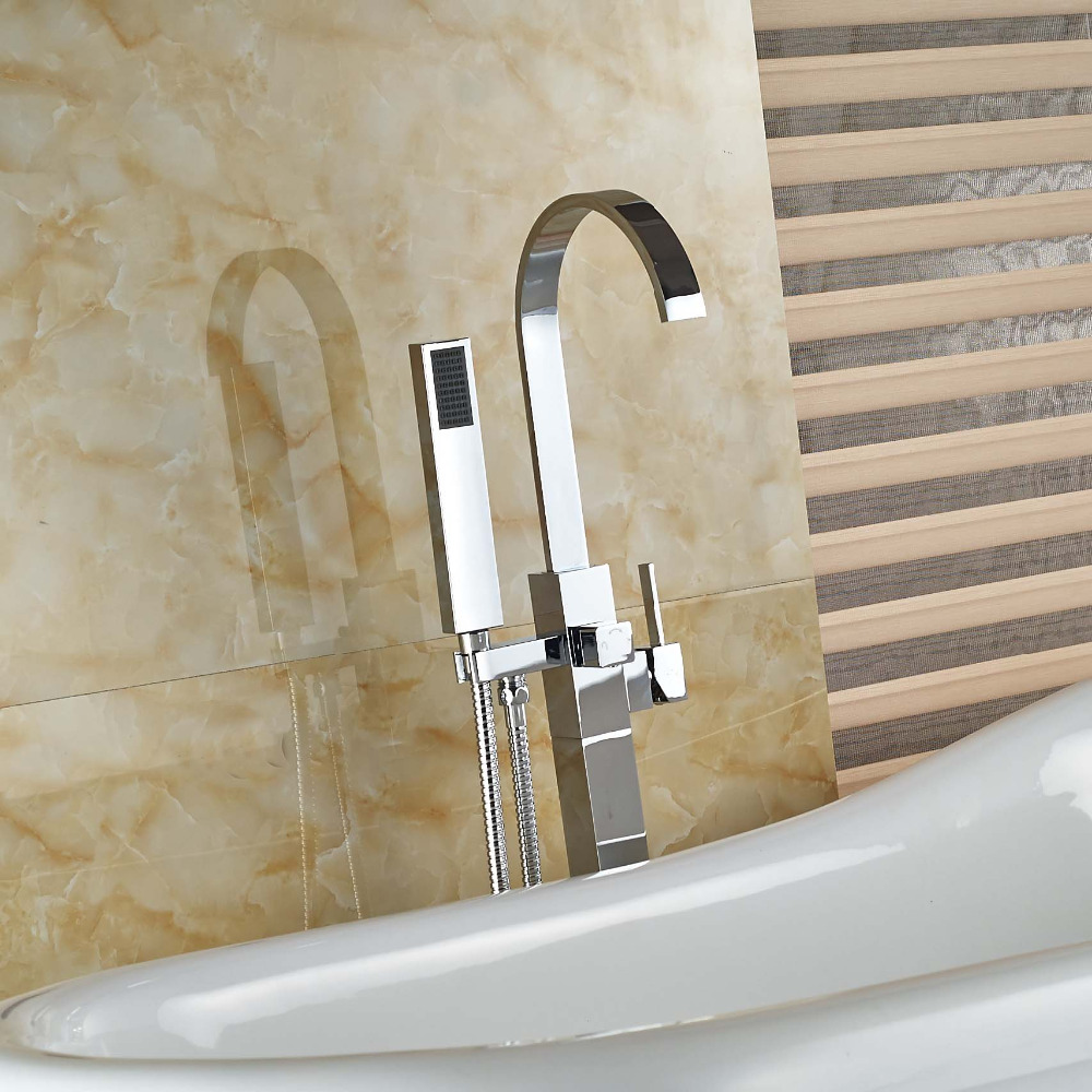 Contemporaty Solid Brass Bathroom Tub Faucet Free Standing Tub Filler with Hand Shower Sprayer Chrome free standing waterfall bathroom tub faucet chrome brass mixer tap w hand shower
