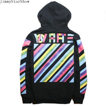 New Fashin OFF WHITE  Oblique Striped Letter Hoodies Sweatshirts Men Women Hip Hop Pullover Tracksuit Sweatshirts Outwear Jacket