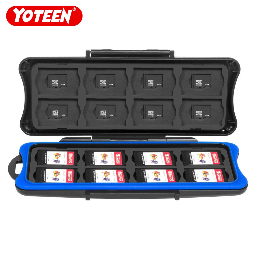 Yoteen Waterproof Anti-Shock Game Card Storage Box with 16 Game Card Slots and 16 Micro SD Card holders for Nintend Switch