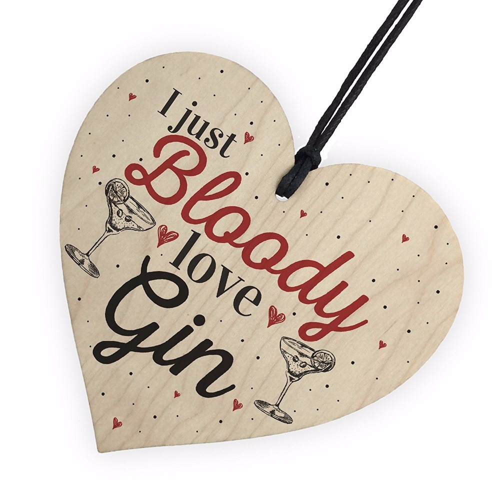 Bloody Love Gin & Tonic Wooden Hanging Heart Sign Plaque Funny Alcohol Sign Pub Party Gift Christmas Home DIY Decorations(China)