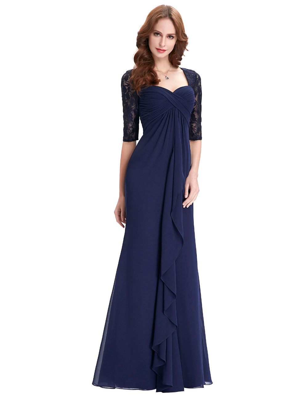 Navy Blue 2018 Mother of the Bride Dresses Lace Dress Elegant Half Sleeve Chiffon Ruffles Evening Dresses Mother Bride Gown