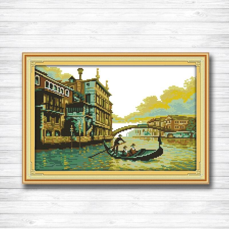 Гавань Замок Река и мост картины DMC 14ct 11ct Счетный крест Рукоделие Набор Вышивка комплекты китайский вышивка крестиком