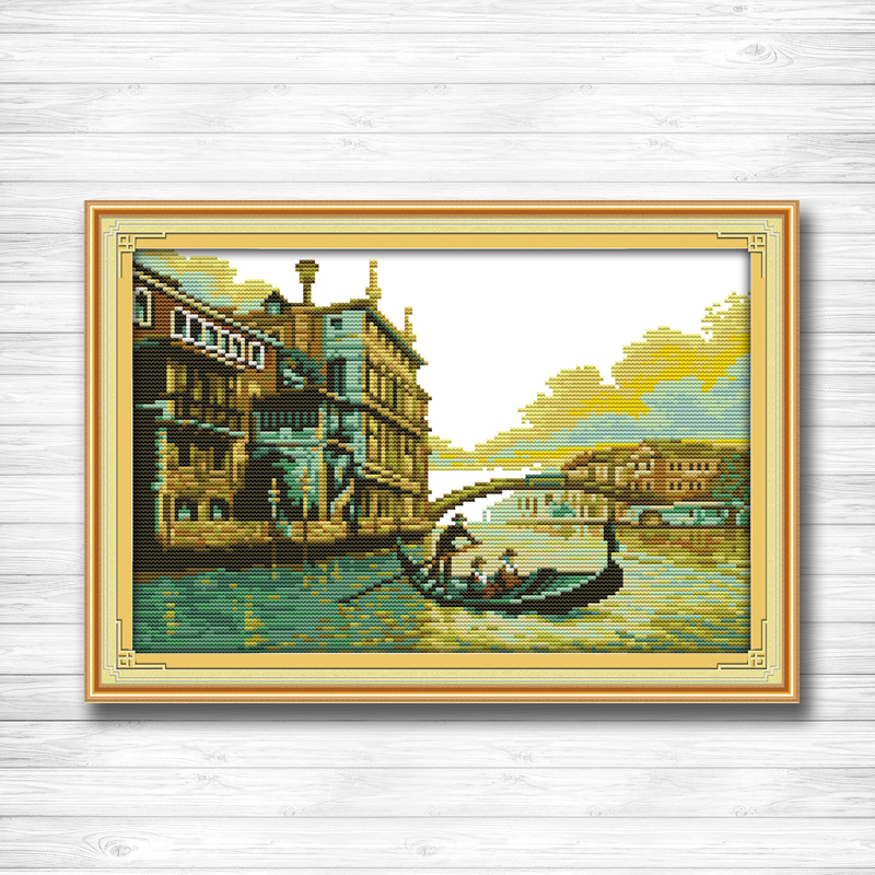 Harbour castle river and bridge paintings dmc 14CT 11CT counted cross stitch Needlework Set Embroidery kits chinese cross stitch