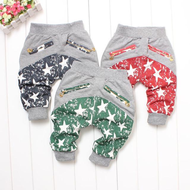 Calças masculinas calças casuais calças do bebê calças que pode abrir-virilha primavera estrela de cinco pontas-a roupa do bebê FRETE GRÁTIS