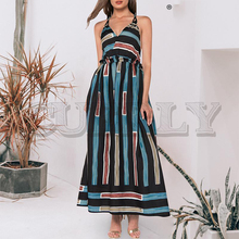 CUERLY Sexy strapless plus size women long dress Summer striped backless boho holiday vestidos 2019 Elegant beach female