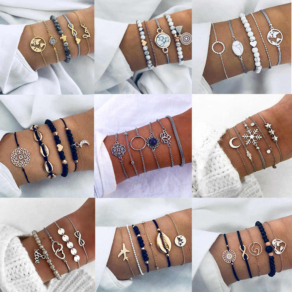 Bohemian Vintage Multilayer Bracelet Set for Women Tassel Lotus Marble Handmade Bracelet 2019 Trend Wholesale Jewelry