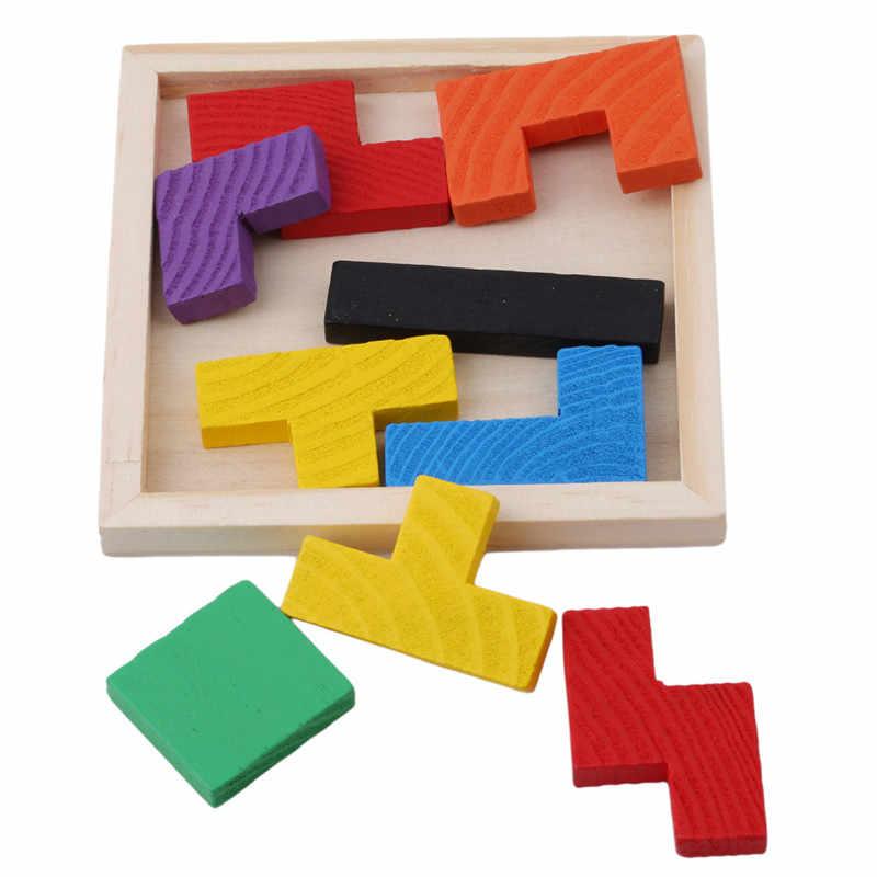 Деревянный тетрис игра развивающая головоломка игрушки деревянный Танграм головоломка для детей дошкольного возраста