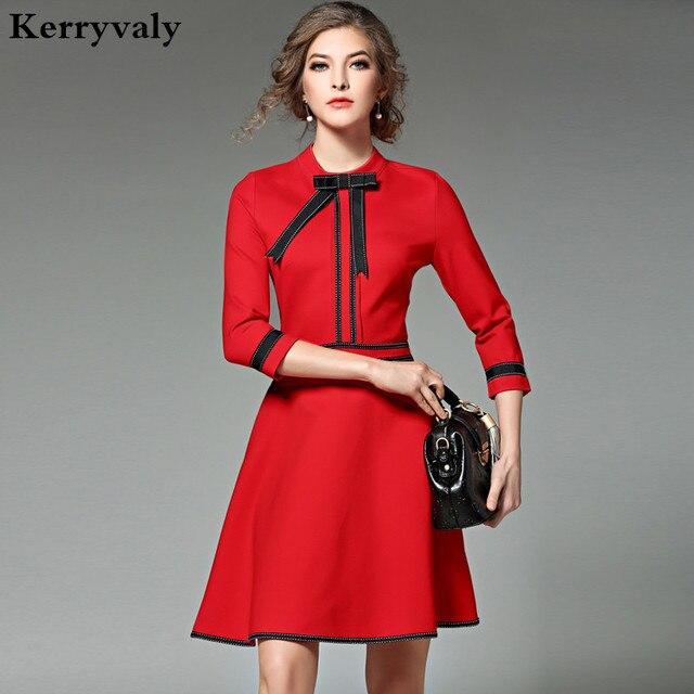 Extreem Nieuwe Dames Mode Rode Kerst Jurk 2018 Vestidos Oekraïne Zwarte #IS43