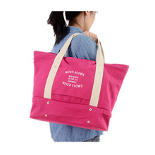 New casual canvas bag women multifunction retractable travel clothes shoes storage package shopping shoulder bags Mummy bag
