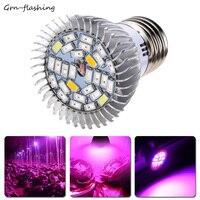 E17 E27 GU10 bombilla LED para crecimiento de plantas 18W 28LED Luz de cultivo para planta de interior jardín vegetal flor hidropónica lámpara de espectro completo Bombillas de lámparas de cultivo Luces e iluminación -