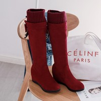 Big Size 9 10 11 12 boots women shoes ankle boots for women ladies boots Diamond bow knit stitching