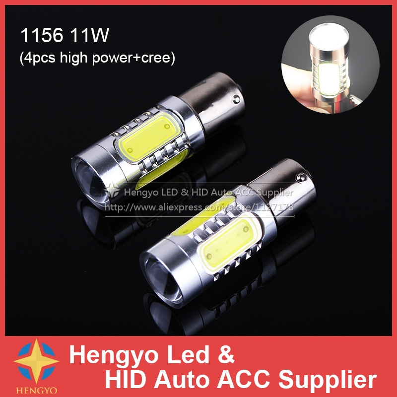 Free Shipment 2Pcs 1156 BA15S BA15D COB LED 11W High Power P21W Car Turn Signal Tail Brake Lights Super Bright White Bulbs