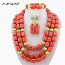 Classic Nigerian Wedding African Coral Beads Jewelry Set Costume Jewelry Sets Free Shipping HD6157 2017 new design handmade coral beads statement necklace set nigerian wedding african beads lace jewelry set free shipping abk849