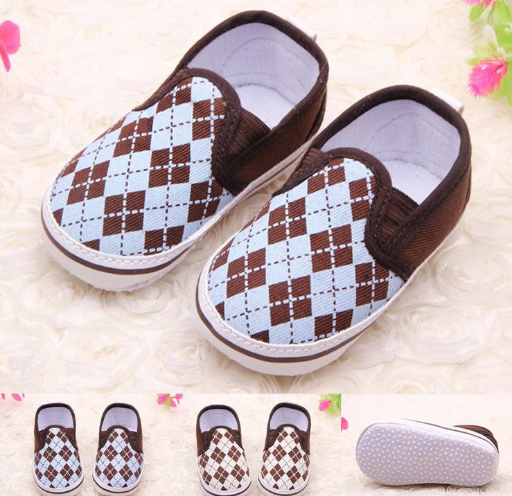 Spring/Summer Style Classic Plaid Mixed Colors Soft Non-slip First Walkers 0-12 Months Baby Boys Canvas Shoes 11-13cm