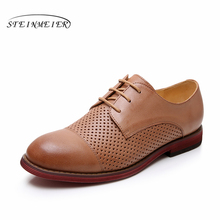 Yinzo Genuine Leather Women's Flats Oxford Shoes Woman Sneakers Lady Brogues Vintage Casual Shoes Shoes For Women Footwear 2019 цены