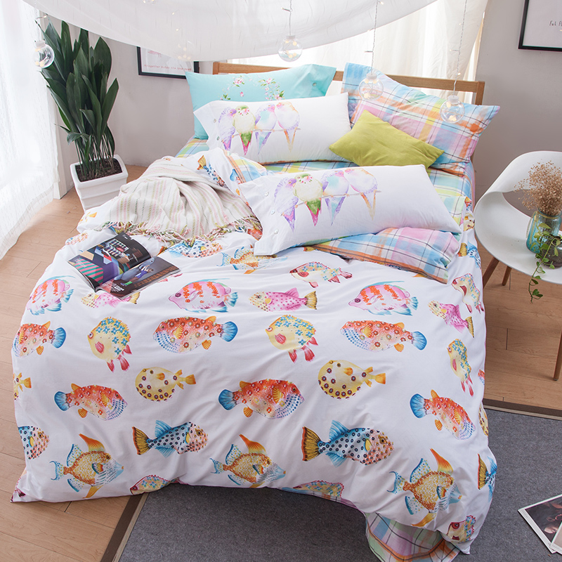 fashion fishes printed queen size duvet cover set soft 100 cotton fabric bedlinens flat - Queen Size Duvet Cover