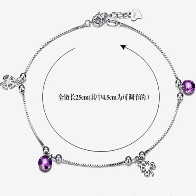 Nova chegada prata , mas a tornozeleiras de prata feminino moda jóias trevo de quatro folhas presentes namorada presente do dia
