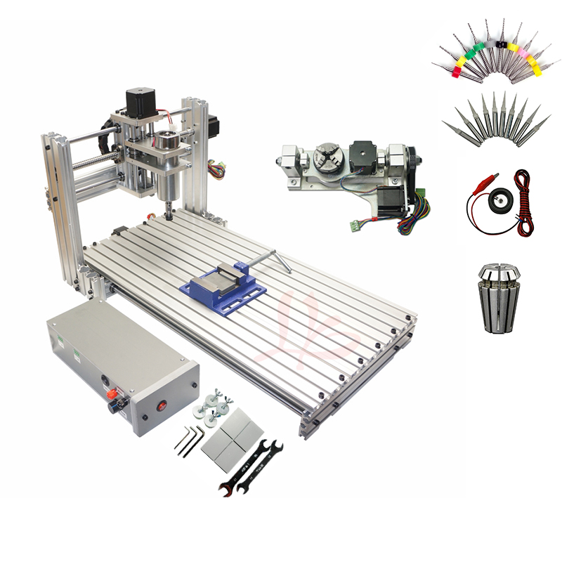 Ball Screw Mini CNC 5 Axis Router DIY 6020 Wood PCB PVC Engraving Milling Machine With Free Cutters ER11 Collet USB Port