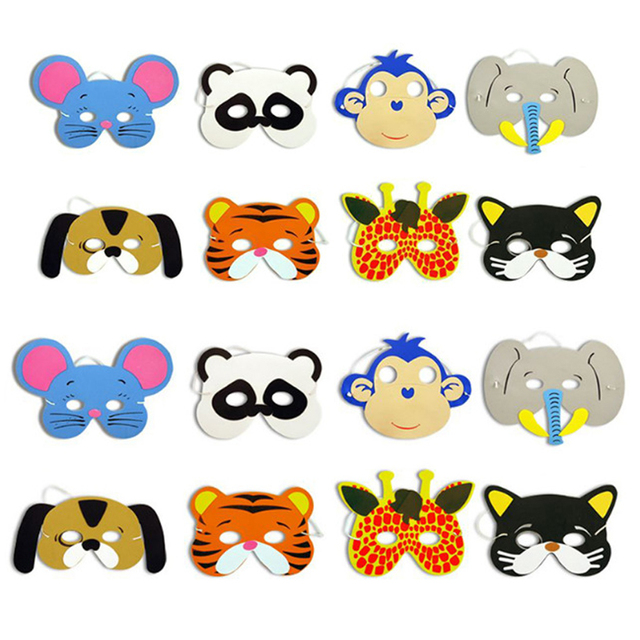 10PCS Assorted EVA Foam Children Masks Upper Half Face Party Animal Masks Non-Toxic Foam animal masks Kids Birthday Party