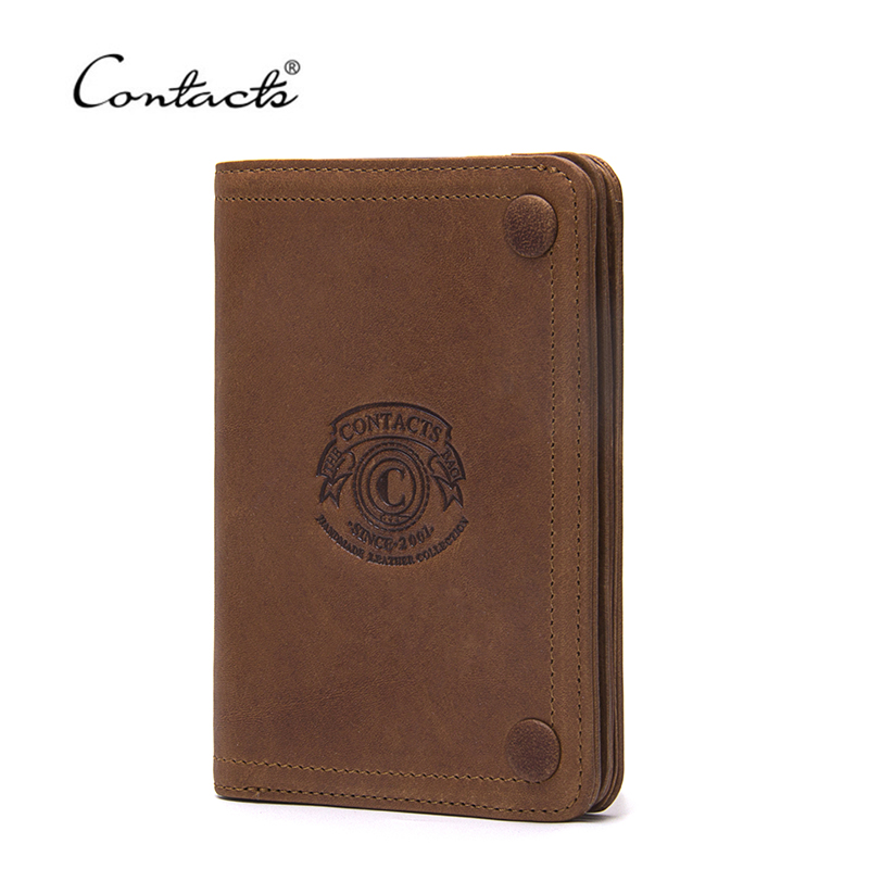 CONTACT'S Genuine Leather Fashion Men Wallet High Quality Brand Design Wallets With Coin Pocket Purses Card Holder Bifold Purse