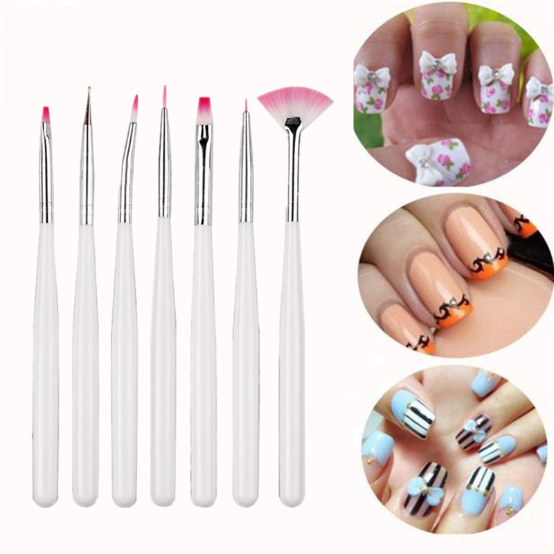 7pcs/set Nail Painting Brushes UV Gel Acrylic Nail Art Brush Manicure Brush Pen Dotting Painting White Nail Brush Set