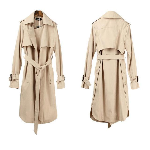 2016 nova moda primavera/Casual Trench Coat longo Casacos roupas soltas das mulheres