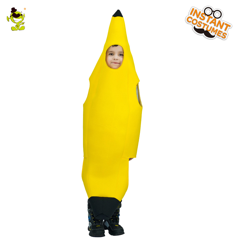 Funny Banana Costumes Cute Fruits Decorations Jumpsuit show in Halloween Carnival Role Play Party for Unisex kids