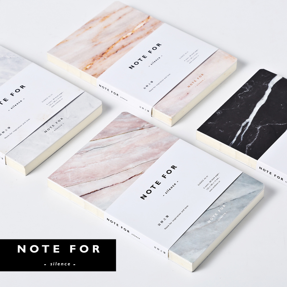 Japanese Cute Stationery Note For Silence 80 Pages Marble Designs A5 Empty Pages Notebook Journal DIY Personal Diary Note Book 80 pages note for nature poems flamingo peafowl blank page notebook journal diy diary notepad