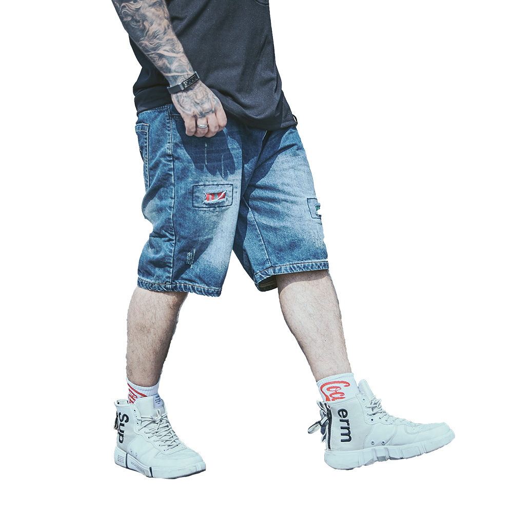 Men Shorts Denim Jeans 2019 New Boy Sports Pant Fashion Patchwork Hole Design Man Shorts Sweatpants Workout Blue Plus Size 34-48