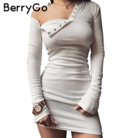 BerryGo Elegant One Shoulder Bodycon Dress Slim Long Sleeve Evening Party Club White Dress Women Autumn