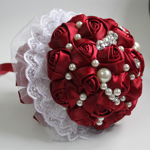 Image 3 - POP Style Pearl Wine Red Silk Ribbon Flowers Bridal Wedding Bouquets Romantic Lace Wedding Bridesmaid Stitch Bouquet W239