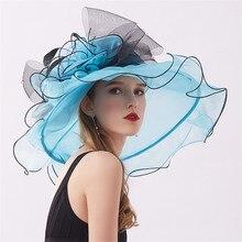 Mingli Tengda, новинка, свадебная шляпа для женщин, Элегантные Свадебные шляпы из органзы с цветком, летняя пляжная шляпа с козырьком, chapeau femme mariage